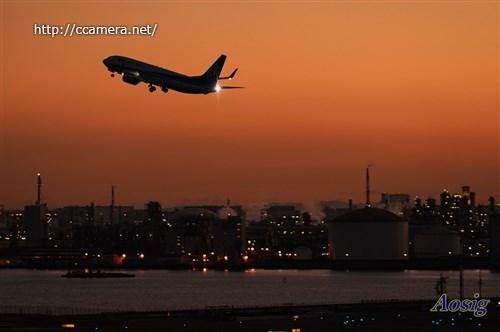 夕方の羽田空港飛行機